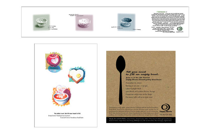 Invitations and posters, various years | Empty Bowls fundraiser | Divine Providence Food Bank (now America's Second Harvest)