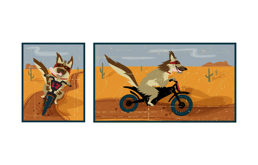 Desert Dawg iIllustrations that were then animated for a short video | Lazydays RV Center, Tucson