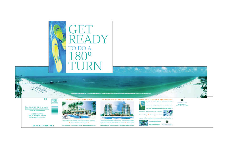 Direct mail self-mailer, cover and inside spreads | Mandalay Beach Club