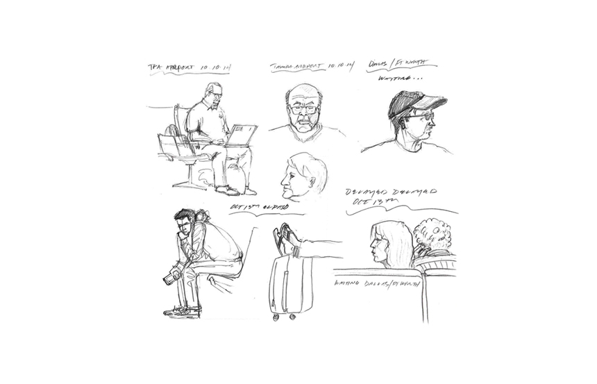 "I took a trip out west, these are drawn from various waiting areas. Can anyone say""Ennui""?"