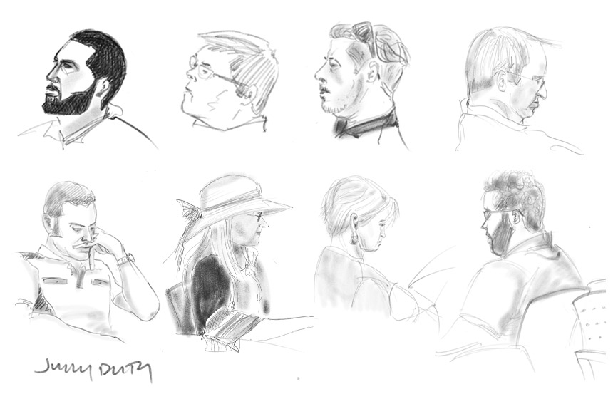 Series of quick drawings done on ipad pro with apple pen in adobe sketch while waiting in the jury pool
